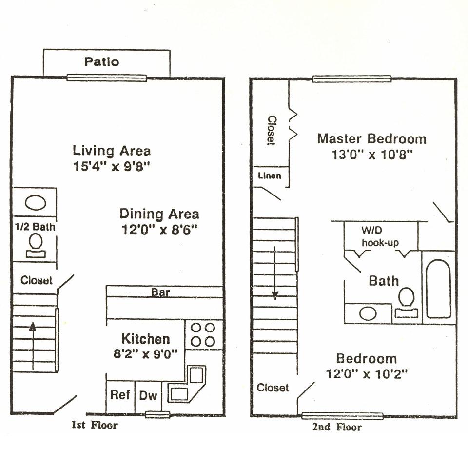 2 Bedrooms, 1.5 Bathrooms Floor Plan