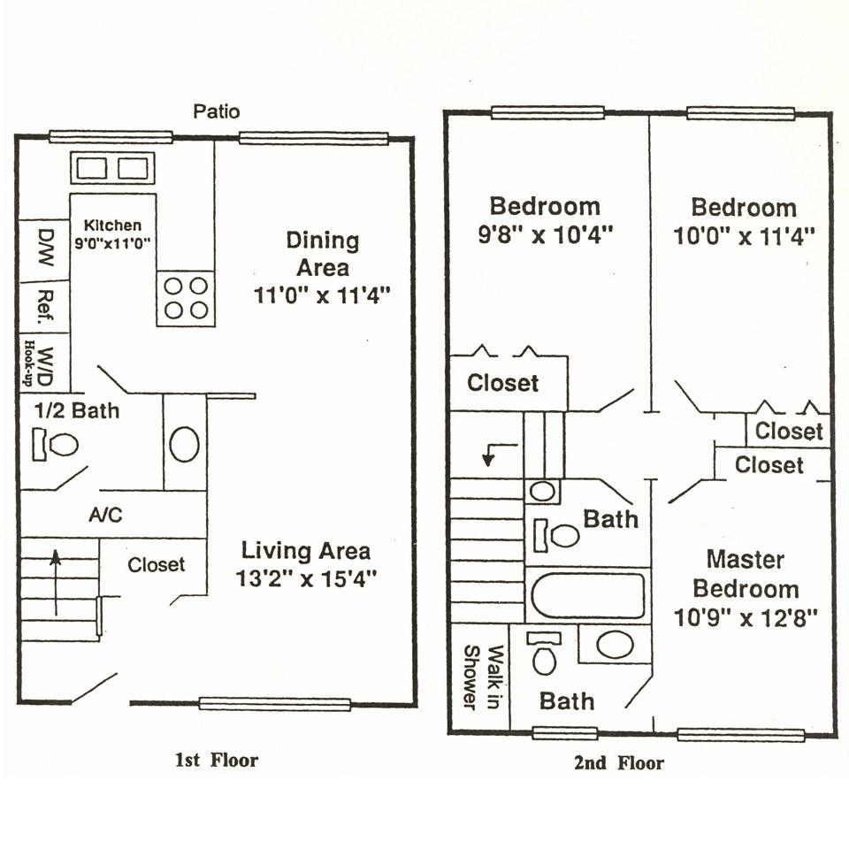 3 Bedrooms, 2.5 Bathrooms Floor Plan
